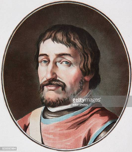 William I usually known as William the Conqueror or William the Bastard first Norman King of England Aquatint in colour