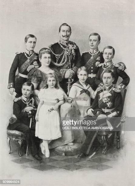William II and his consort Augusta Victoria and their seven children German imperial family photograph by Baruch di Berlino from L'Illustrazione...