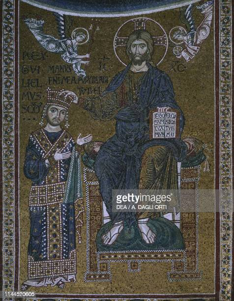 William II receiving the royal crown from Christ 13thcentury mosaic Monreale cathedral Monreale Sicily Italy