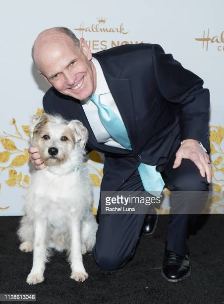 William J Abbott and Happy the Dog attend Hallmark Channel And Hallmark Movies And Mysteries 2019 Winter TCA Tour at Tournament House on February 09...