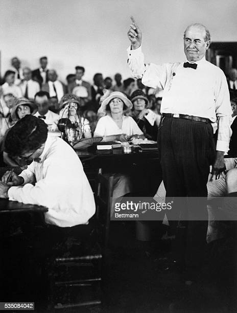 1925 William J Bryan makes his first speech during the Scopes trial He is shown fulllength raising his hand in a pointing gesture