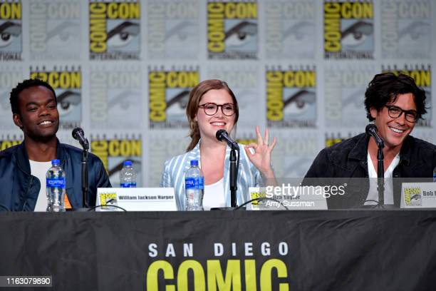 William Jackson Harper Eliza Taylor and Bob Morley speak at the TV Guide Magazine Fan Favorites 2019 during 2019 ComicCon International at San Diego...