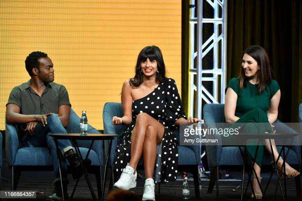 William Jackson Harper Jameela Jamil and D'Arcy Carden of 'The Good Place' speak during the NBC segment of the 2019 Summer TCA Press Tour at The...
