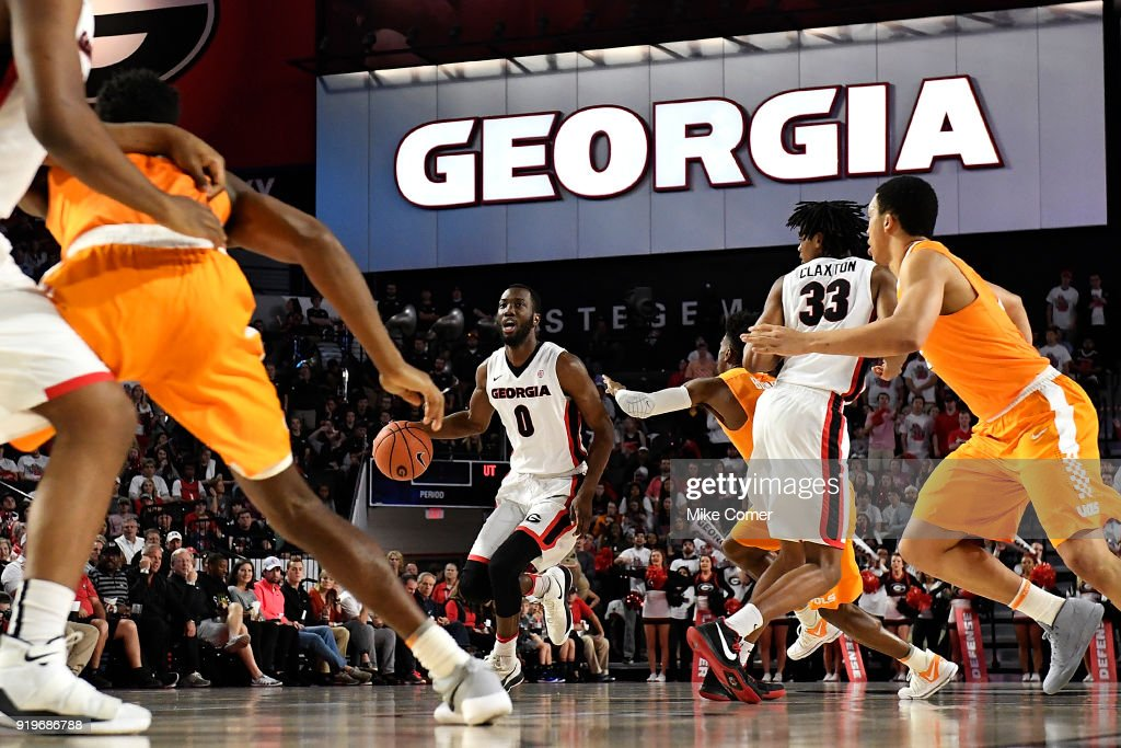 William Jackson II #0 of the Georgia Bulldogs dribbles the ball in against the Tennessee Volunteers during the basketball game at Stegeman Coliseum on February 17, 2018 in Athens, Georgia.
