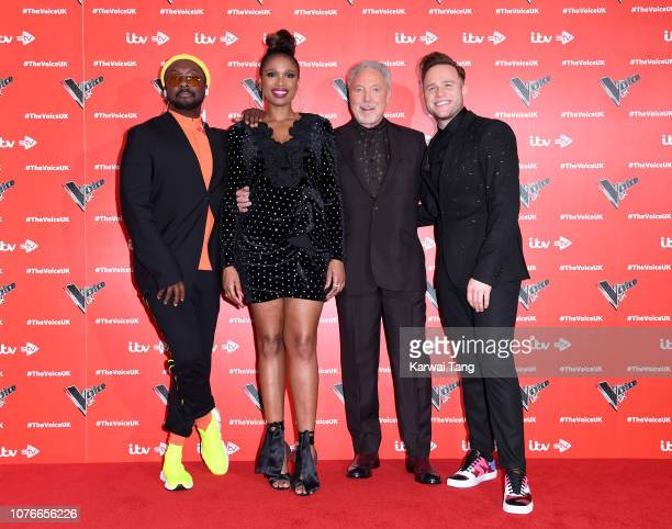 William Jennifer Hudson Sir Tom Jones and Olly Murs attend The Voice UK 2019 launch at W Hotel Leicester Sq on January 3 2019 in London England