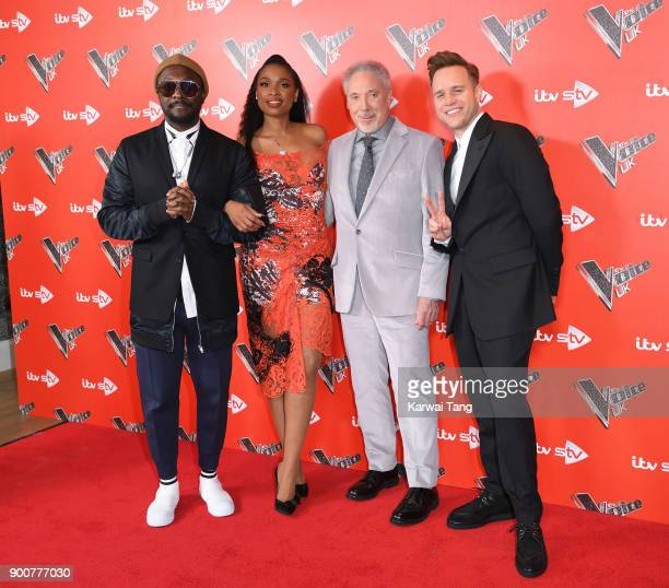 william Jennifer Hudson Sir Tom Jones and Olly Murs attend The Voice UK Launch photocall at Ham Yard Hotel on January 3 2018 in London England