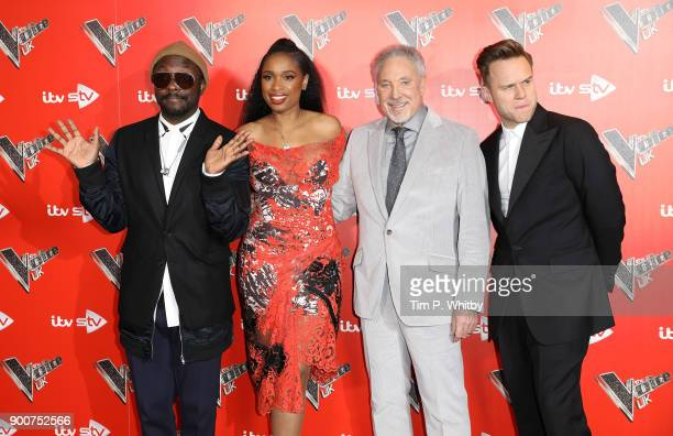 william Jennifer Hudson Sir Tom Jones and Olly Murs during The Voice UK Launch photocall held at Ham Yard Hotel on January 3 2018 in London England