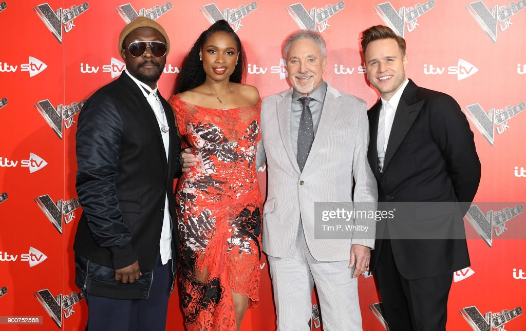 will.i.am, Jennifer Hudson, Sir Tom Jones and Olly Murs during The Voice UK Launch photocall held at Ham Yard Hotel on January 3, 2018 in London, England.