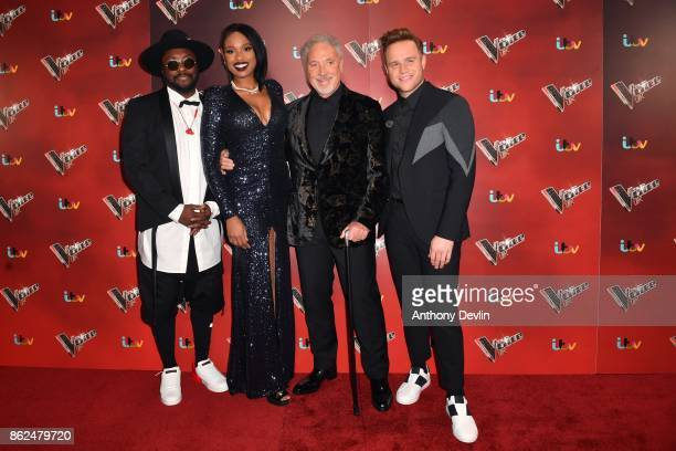 William Jennifer Hudson Sir Tom Jones and Olly Murs pose during The Voice UK 2018 launch photocall at Media City on October 17 2017 in Manchester...