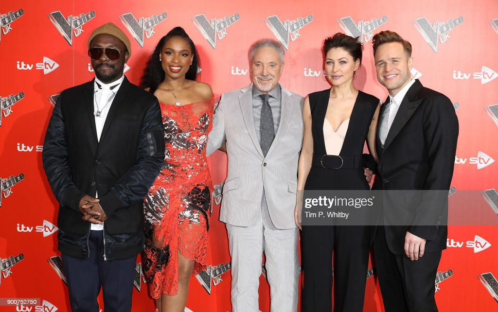 will.i.am, Jennifer Hudson, Sir Tom Jones, Emma Willis and Olly Murs during The Voice UK Launch photocall held at Ham Yard Hotel on January 3, 2018 in London, England.