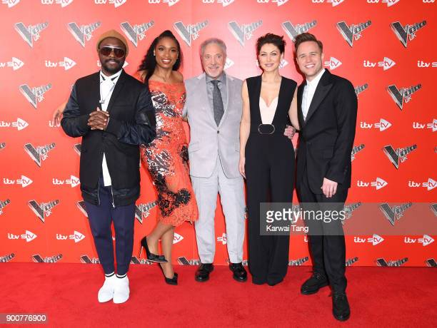 william Jennifer Hudson Sir Tom Jones Emma Willis and Olly Murs attend The Voice UK Launch photocall at Ham Yard Hotel on January 3 2018 in London...