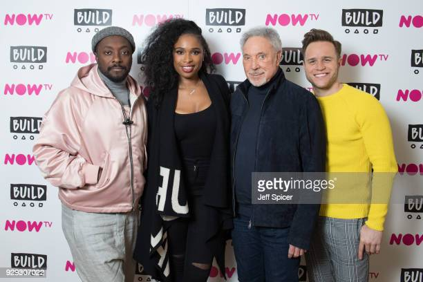 william Jennifer Hudson Tom Jones and Olly Murs pose before taking part in a BUILD panel discussion on March 8 2018 in London England
