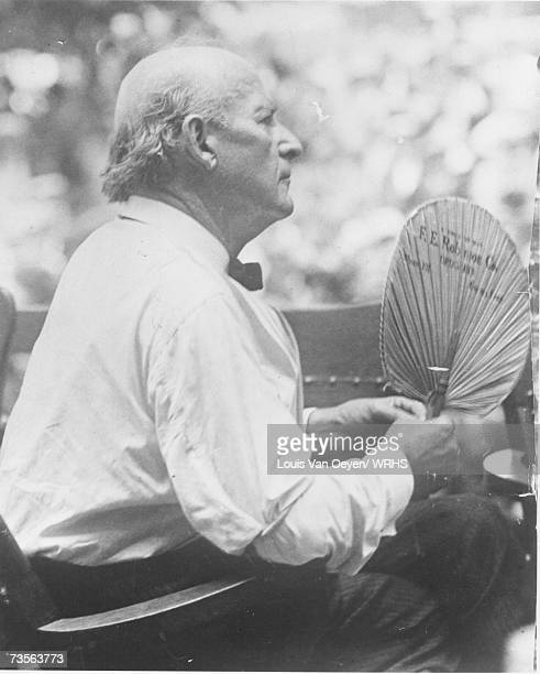 William Jenning Bryan holding a fan outside the courthouse at the Scopes Monkey Trial Bryan prosecuted the case against John Scopes for teaching...