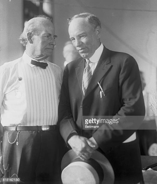William Jennings Bryan and Judge Raulston as they whispered in conference on the judges stand after the adjournment of court until Monday
