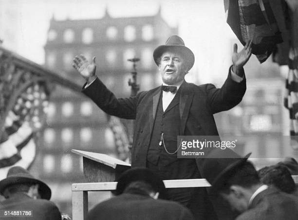 William Jennings Bryan; Democratic Presidential nominee, well-known for his eloquent political oratory, delivering a campaign speech. Photograph, ca....