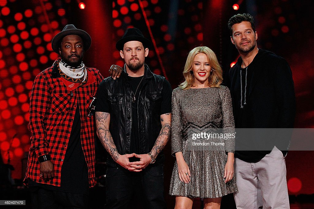 Will.i.am, Joel Madden, Kylie Minogue and Ricky Martin pose during a media call with the final five contestants and their coaches from The Voice at Fox Studios on July 20, 2014 in Sydney, Australia.