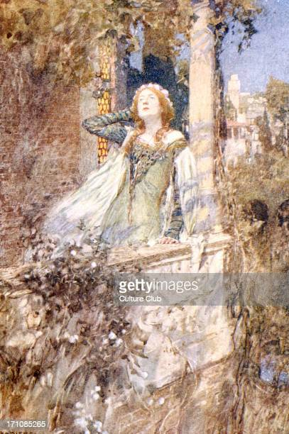 SHAKESPEARE William Juliet in Romeo and Juliet on balcony painting by W Hatherell `O Romeo Romeo wherefore are thou Romeo` English poet and dramatist