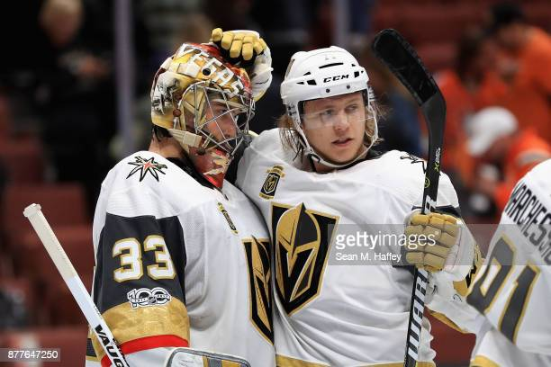 William Karlsson congratulates Maxime Lagace of the Vegas Golden Knights after defeating the Anaheim Ducks 42 in a game at Honda Center on November...