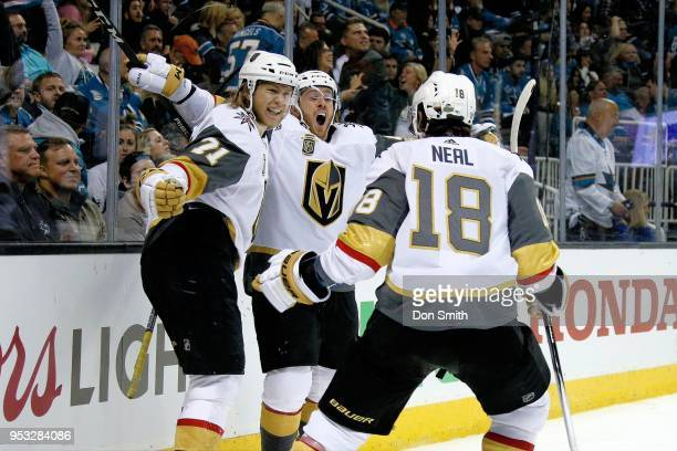 William Karlsson Jonathan Marchessault and James Neal of the Vegas Golden Knights celebrate Karlsson's overtime winning goal in Game Three of the...