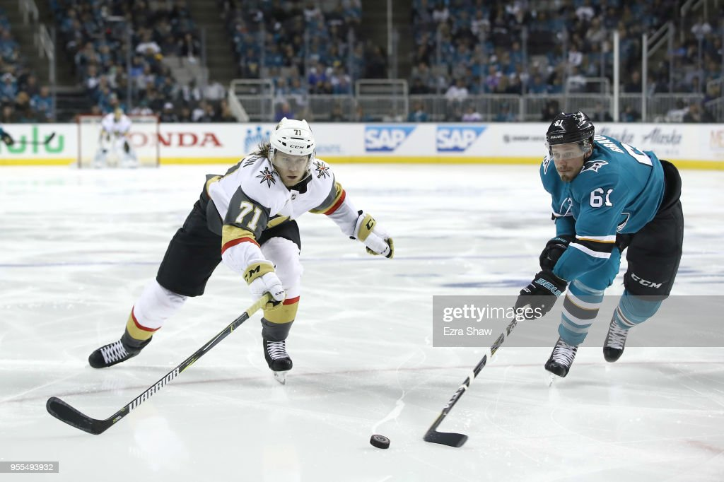 William Karlsson #71 of the Vegas Golden Knights and Justin Braun #61 of the San Jose Sharks go for the puck during Game Six of the Western Conference Second Round during the 2018 NHL Stanley Cup Playoffs at SAP Center on May 6, 2018 in San Jose, California.