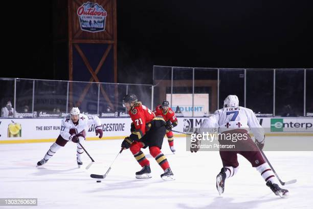 William Karlsson of the Vegas Golden Knights carries the puck against the Colorado Avalanche during the second period during the NHL Outdoors at Lake...