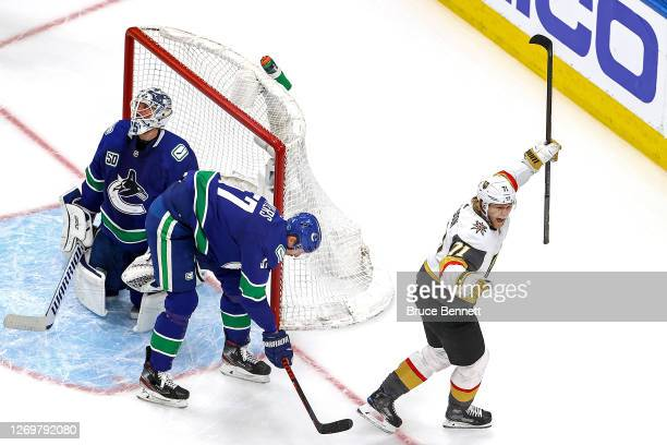William Karlsson of the Vegas Golden Knights celebrates after scoring a goal past Jacob Markstrom of the Vancouver Canucks during the third period in...
