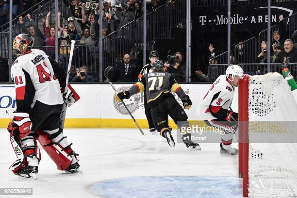 William Karlsson of the Vegas Golden Knights celebrates after scoring a goal against Cody Ceci and Craig Anderson of the Ottawa Senators during the...