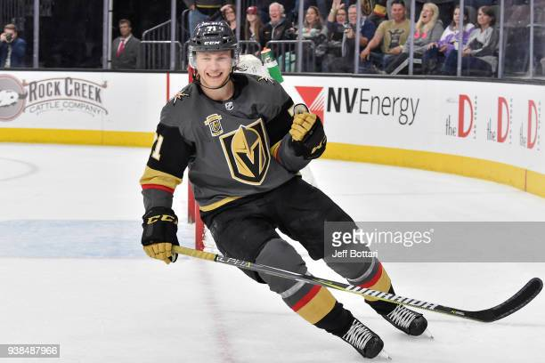 William Karlsson of the Vegas Golden Knights celebrates after scoring a goal against the Colorado Avalanche during the game at TMobile Arena on March...