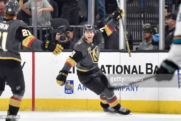 William Karlsson of the Vegas Golden Knights celebrates after scoring a goal against the San Jose Sharks during the game at TMobile Arena on March 31...