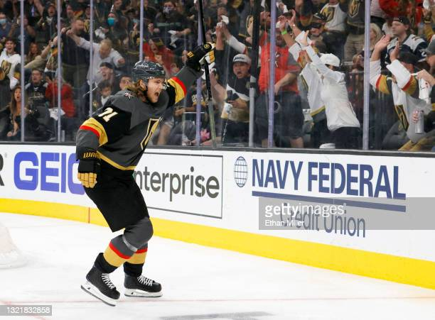 William Karlsson of the Vegas Golden Knights celebrates his second-period goal against the Colorado Avalanche in Game Three of the Second Round of...