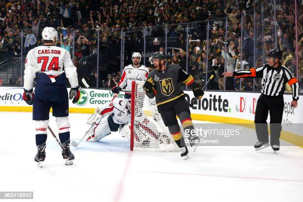 William Karlsson of the Vegas Golden Knights celebrates his firstperiod goal against the Washington Capitals in Game One of the 2018 NHL Stanley Cup...