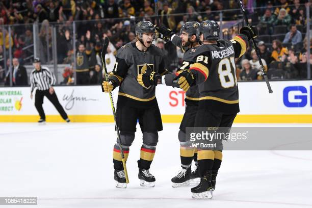 William Karlsson of the Vegas Golden Knights celebrates with teammates Brandon Pirri and Jonathan Marchessault after scoring a goal against the...