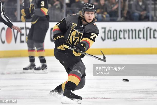 William Karlsson of the Vegas Golden Knights dumps the puck against the Los Angeles Kings in Game Two of the Western Conference First Round during...