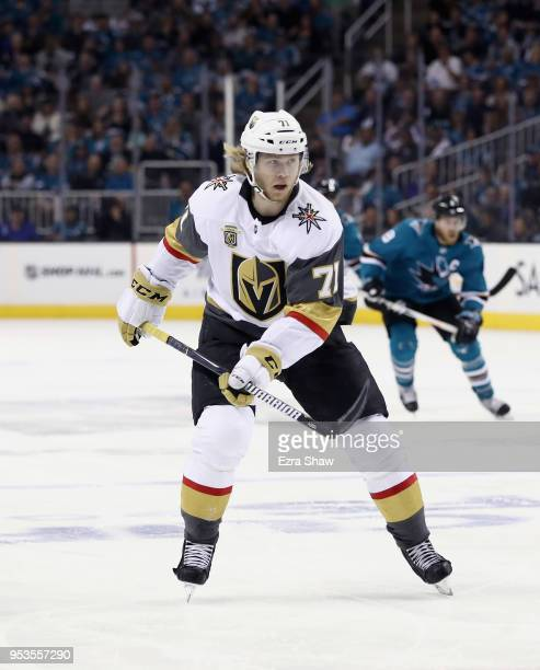 William Karlsson of the Vegas Golden Knights in action against the San Jose Sharks during Game Three of the Western Conference Second Round during...