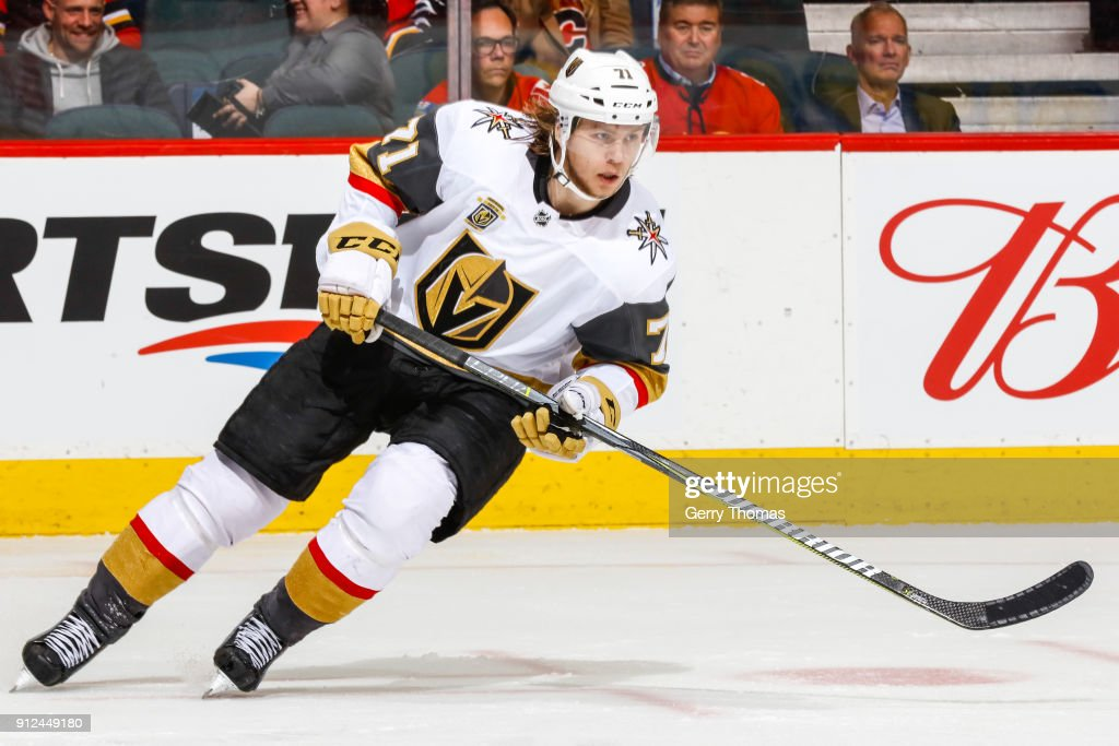 William Karlsson #71 of the Vegas Golden Knights in an NHL game on January 30, 2018 at the Scotiabank Saddledome in Calgary, Alberta, Canada.