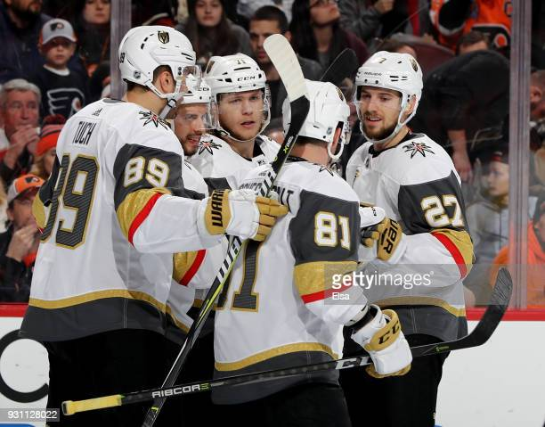 William Karlsson of the Vegas Golden Knights is congratulated by teammates Alex TuchJonathan Marchessault and Shea Theodore of the Vegas Golden...