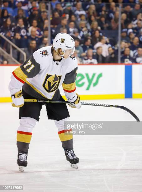 William Karlsson of the Vegas Golden Knights looks on during a third period stoppage in play against the Winnipeg Jets at the Bell MTS Place on...