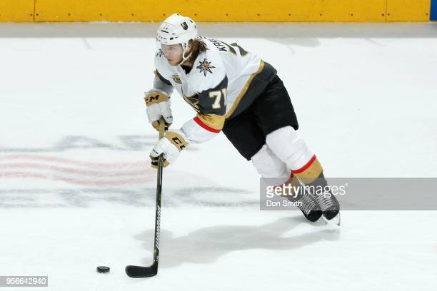William Karlsson of the Vegas Golden Knights moves the puck in Game Six of the Western Conference Second Round against the San Jose Sharks during the...