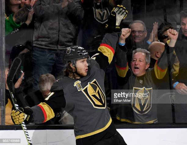 William Karlsson of the Vegas Golden Knights reacts after scoring his third goal of the second period against the Calgary Flames during their game at...