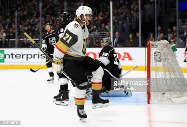 William Karlsson of the Vegas Golden Knights reacts to scoring a goal while Drew Doughty and Jonathan Quick of the Los Angeles Kings look on during...