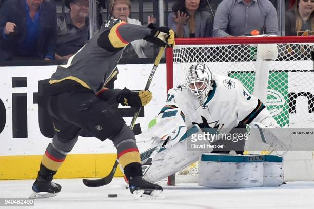 William Karlsson of the Vegas Golden Knights scores a goal against Martin Jones of the San Jose Sharks during the game at TMobile Arena on March 31...