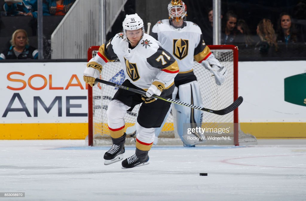 William Karlsson #71 of the Vegas Golden Knights skates after the puck against the San Jose Sharks at SAP Center on September 21, 2017 in San Jose, California.