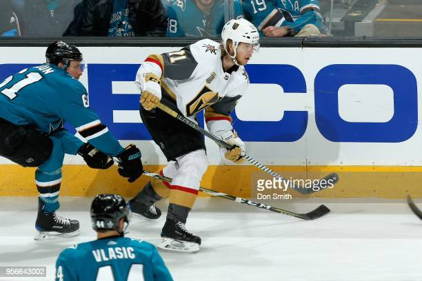 William Karlsson of the Vegas Golden Knights skates against Justin Braun of the San Jose Sharks in Game Six of the Western Conference Second Round...
