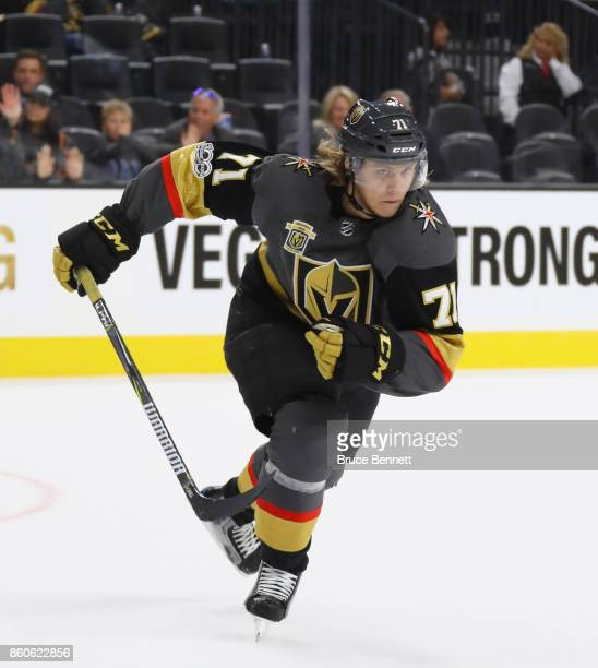 William Karlsson of the Vegas Golden Knights skates against the Arizona Coyotes during the Golden Knights' inaugural regularseason home opener at...