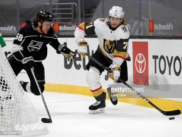 William Karlsson of the Vegas Golden Knights skates away from Kale Clague of the Los Angeles Kings during the third period in a 4-2 Knights win at...