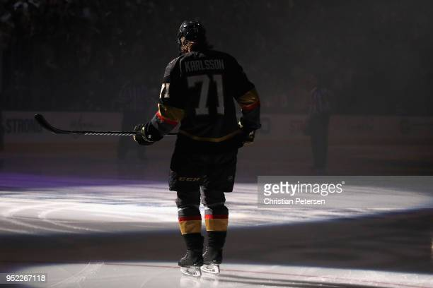 William Karlsson of the Vegas Golden Knights skates on the ice before Game One of the Western Conference Second Round against the San Jose Sharks...