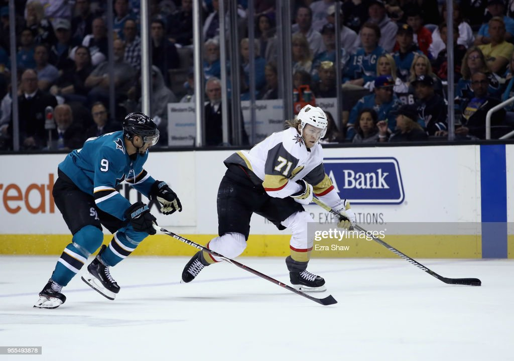 William Karlsson #71 of the Vegas Golden Knights skates past Evander Kane #9 of the San Jose Sharks during Game Six of the Western Conference Second Round during the 2018 NHL Stanley Cup Playoffs at SAP Center on May 6, 2018 in San Jose, California.