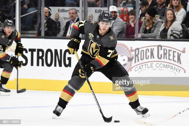 William Karlsson of the Vegas Golden Knights skates with the puck against the San Jose Sharks during the game at TMobile Arena on November 24 2017 in...