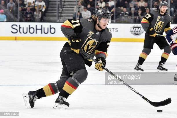 William Karlsson of the Vegas Golden Knights skates with the puck against the Columbus Blue Jackets during the game at TMobile Arena on January 23...