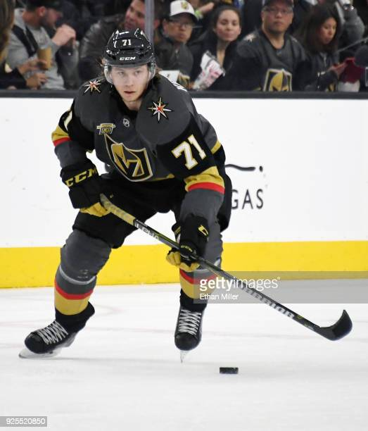 William Karlsson of the Vegas Golden Knights skates with the puck against the Los Angeles Kings in the second period of their game at TMobile Arena...